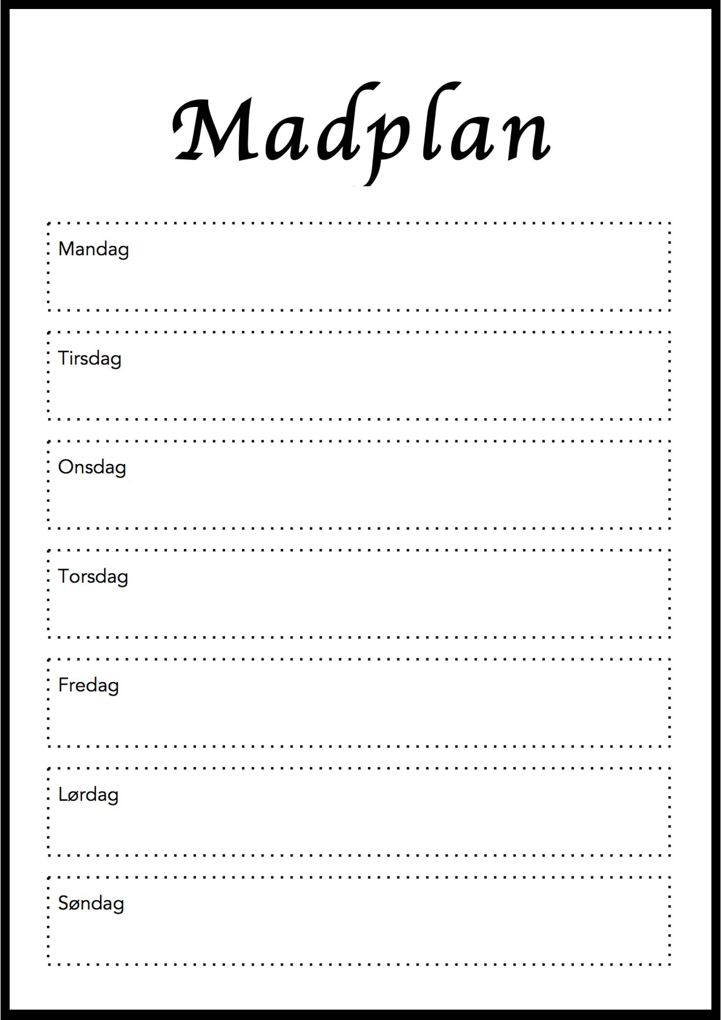 Gratis Print Selv Madplan I Flot Design Klik Her For At